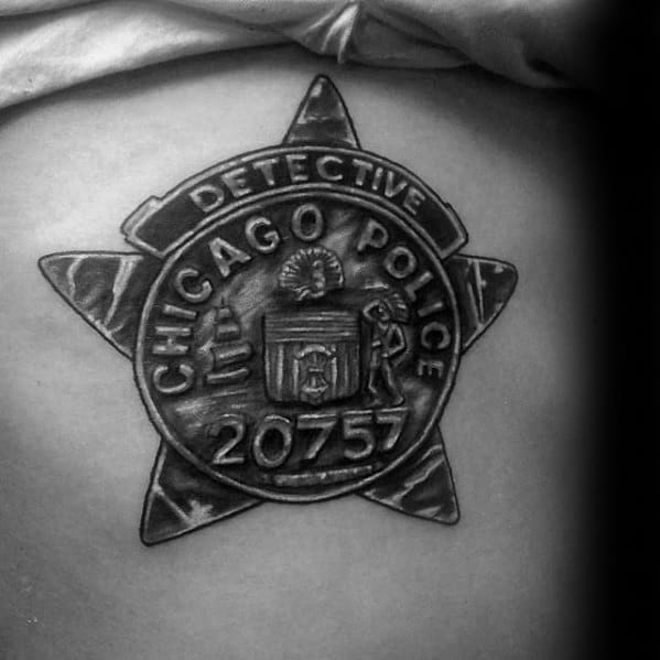 Detective Chicago Police Badge Guys Shaded Back Tattoos