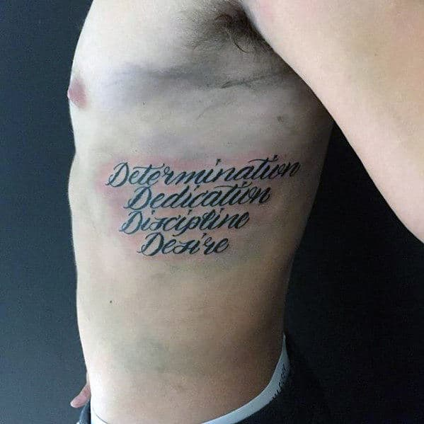 Determination Mens Rib Quote Tattoo Ideas
