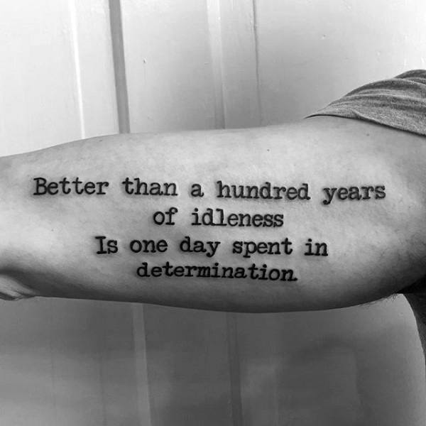 Determination Quote Typewriter Font Mens Inner Arm Tattoos