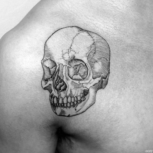 Detiled Mens Shaded Small Upper Chest Tattoo Design Ideas