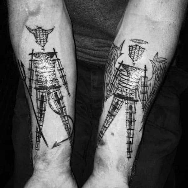 Devil And Angel Mens Gemini Inner Forearm Tattoos