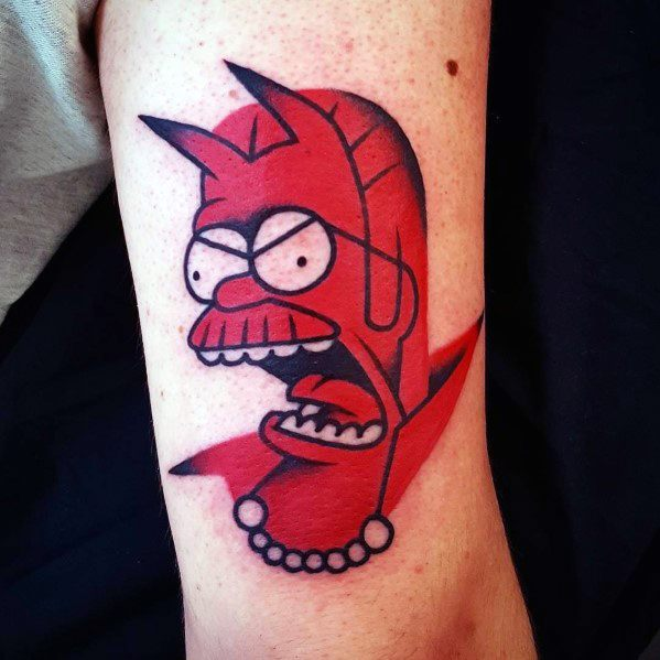 Devil Themed Guys Simpsons Tattoos