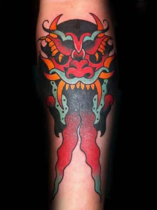 Devil With Two Tounges Mens Traditional Forearm Tattoo