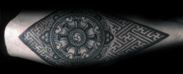 Dharma Wheel Tattoo Designs For Men