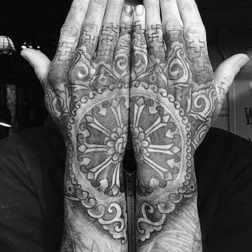Dharma Wheel Tattoo On Both Hands Of Male