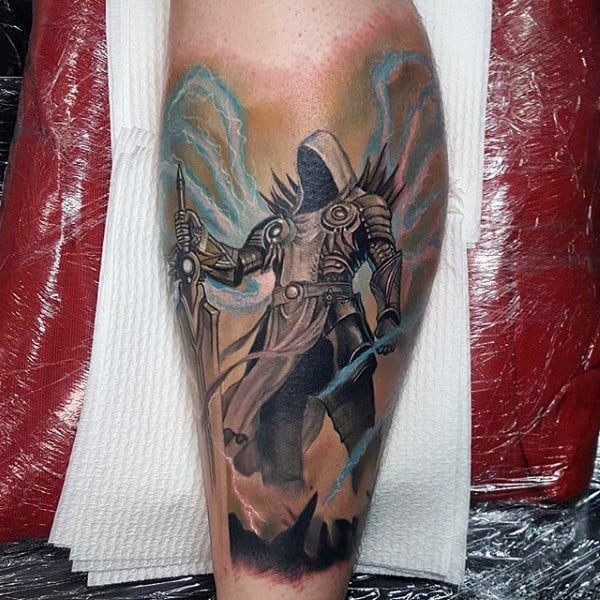 Diable Mens Leg Video Game Tattoo Designs