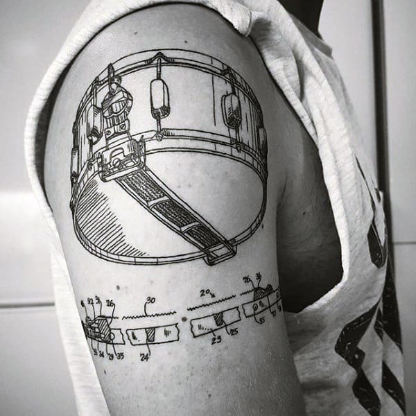 Diagram Mens Upper Arm Drum Tattoo Ideas