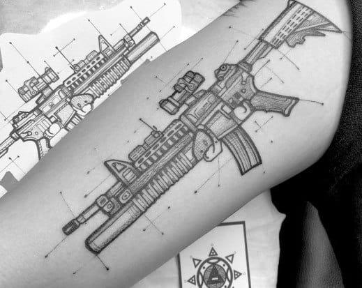 Diagram Rifle Detailed Mens Ar 15 Tattoo Design Ideas