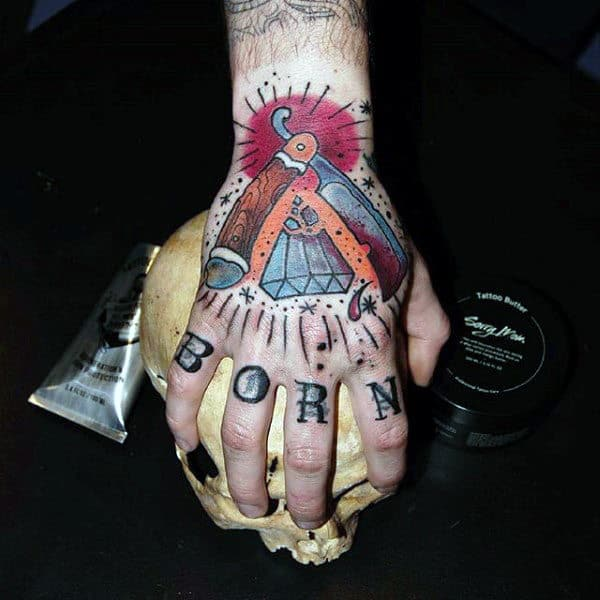 Diamond Barber Hand Mens Tattoo