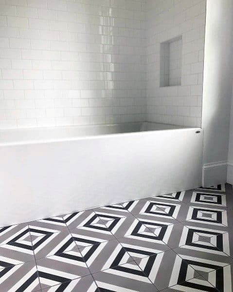 Diamond Grey Bathroom Tile Pattern Floor