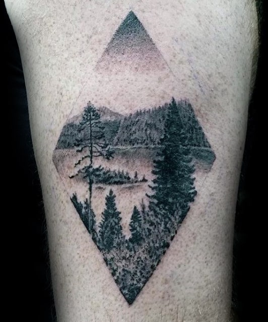 Diamond Male Forest Detailed Arm Tattoo Ideas