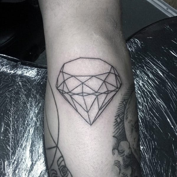 Diamond Outline Black Ink Male Tattoos On Arm
