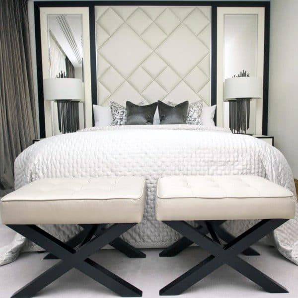 Diamond Pattern White Luxury Headboard Ideas