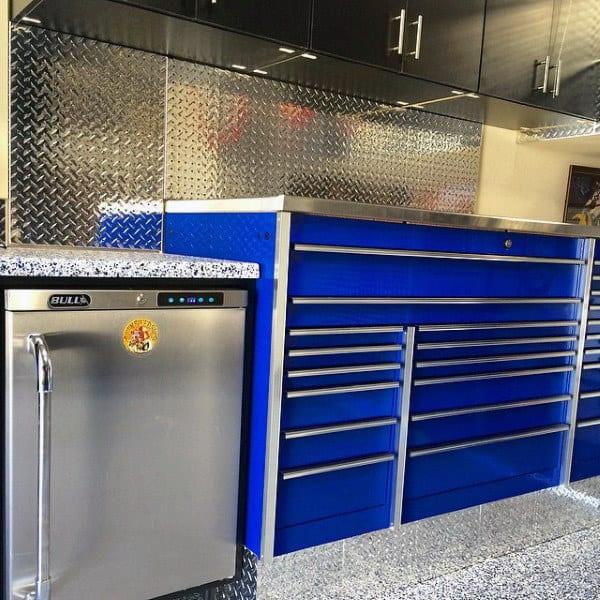 Diamond Plate Garage Storage Cabinet Ideas With Mini Fridge