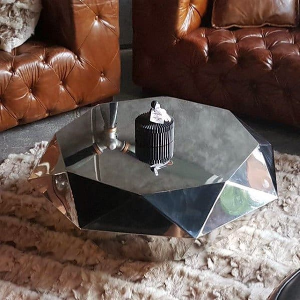 Diamond Polished Chrome Coffee Table Bachelor Pad Furniture