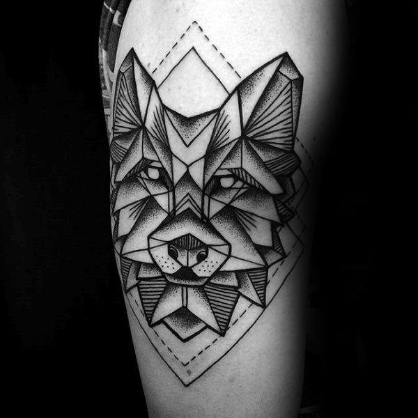 Diamond Shapes Geometric Wolf Male Tattoo On Upper Arm