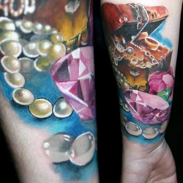 Diamonds And Jewels Treasure Chest Mens Inner Forearm Tattoos