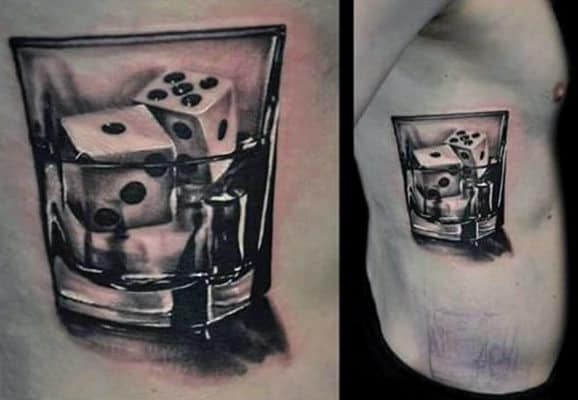 Dice In A Glass Tattoo For Men On Rib Cage Side