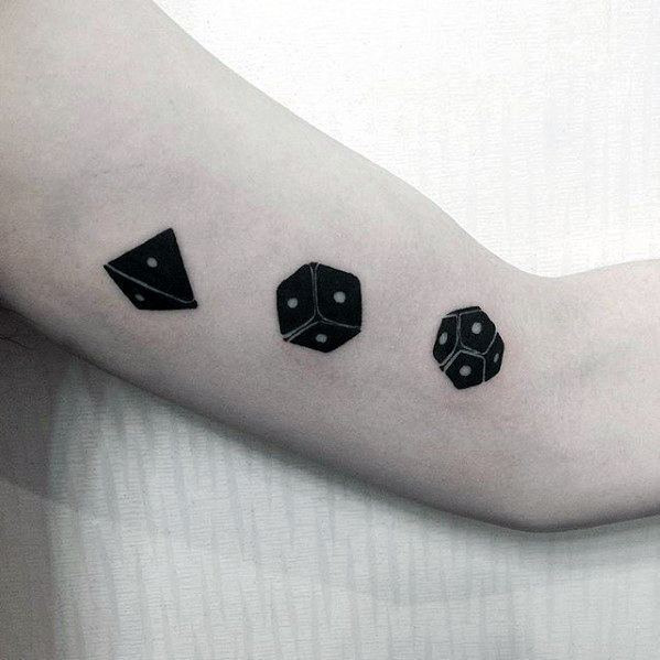 Dice Simple Arm 3d Mens Tattoo Ideas