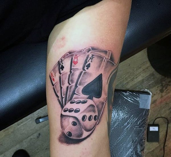 Dice With Playing Cards Mens Inner Arm Tattoo Design Ideas