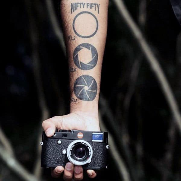 Different Camera Lenses Tattoos On Male Forearms