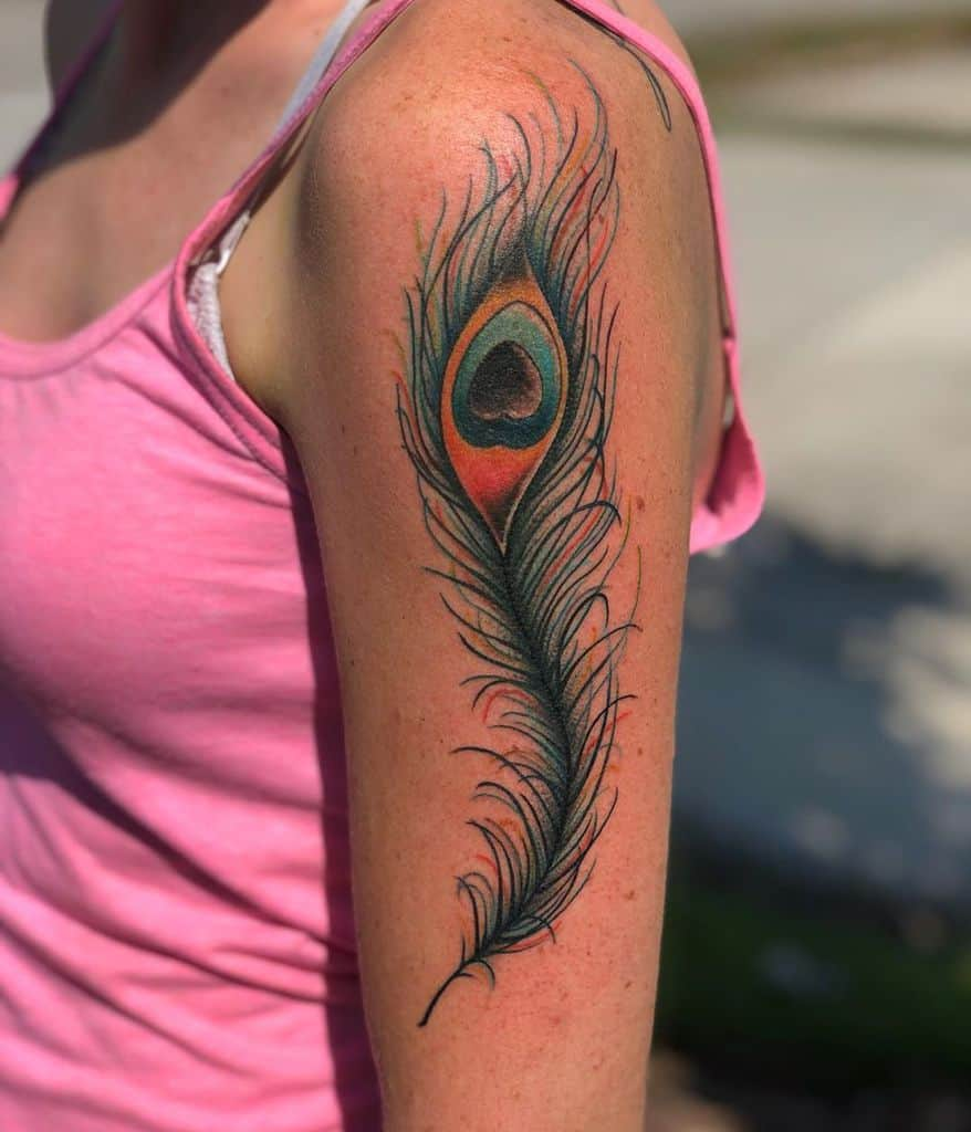 Different Color Peacock Feather Tattoo