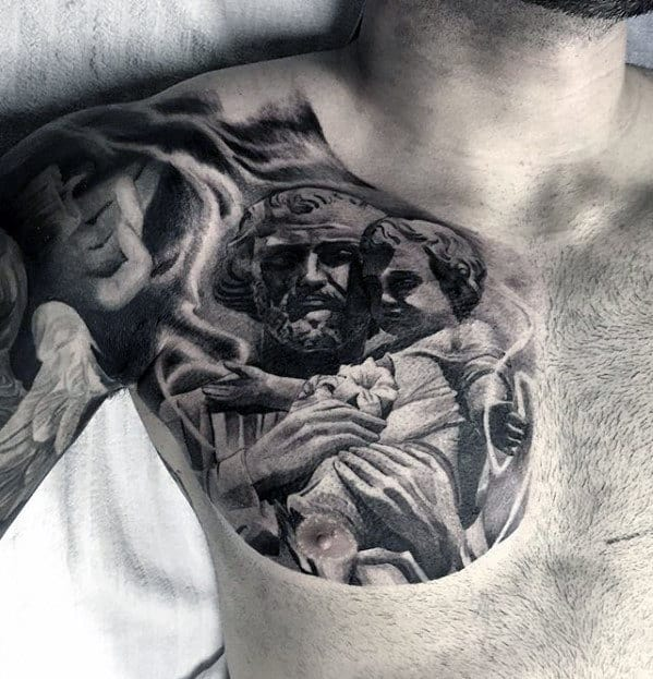 Different Mens Amazing Shaded Upper Chest Tatto