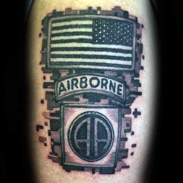 Digital Camo Airborne Patch Mens Arm Tattoo