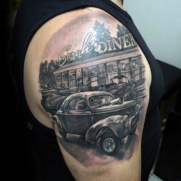 Diner Hot Rod Grey Tattoo Guys Arms