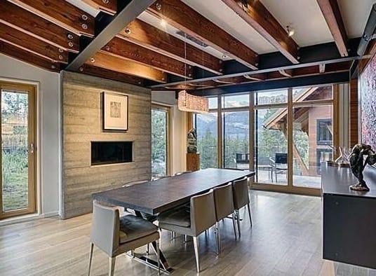 Dining Room Concrete Fireplace Design Board Formed