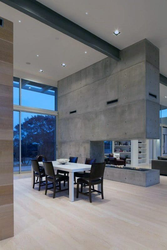 Dining Room Concrete Fireplace Design