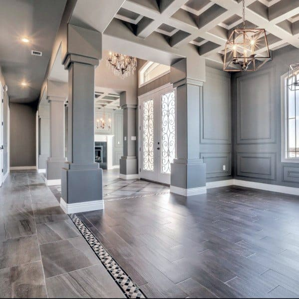 Dining Room Geometric Square Coffered Ceiling Ideas