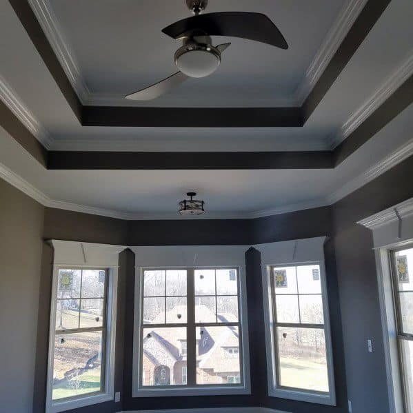 Dining Room Grey And White Double Trey Ceiling Ideas