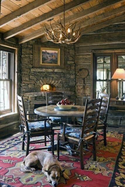 Dining Room Log Cabin Corner Fireplace Design