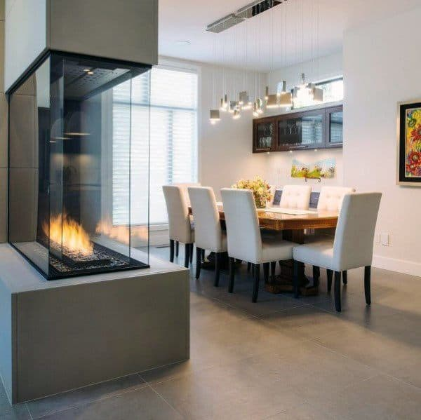 Dining Room Modern Fireplace Design