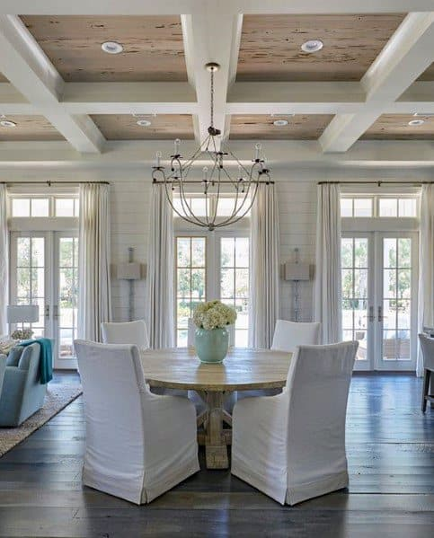 Dining Room Rustic Wood With White Beams Coffered Ceiling Ideas