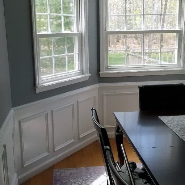 Dining Room White Painted Chair Rail Design Inspiration
