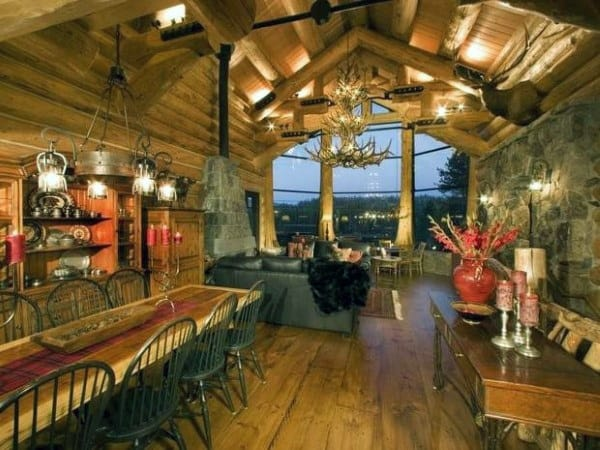 Dining Room With Great Room Log Cabin Interior Design