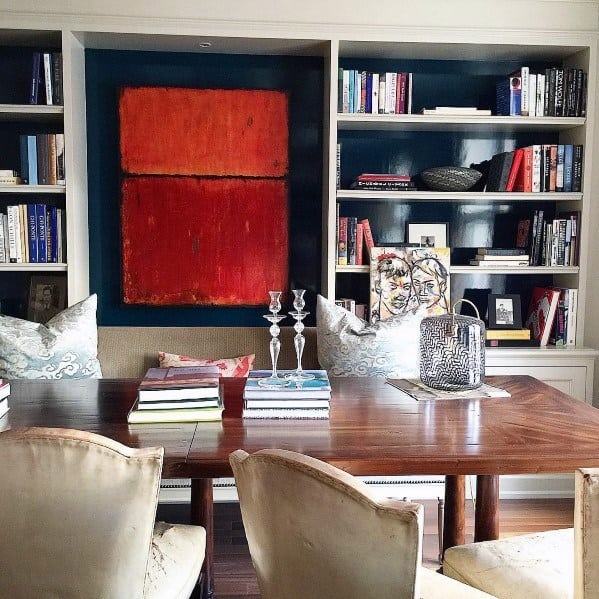 Dining Rooms Built In Bookcase Interior Ideas