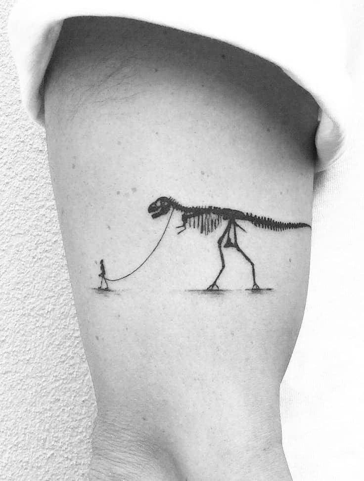 Dinosaur Skeleton Realistic Fine Line Tattoo