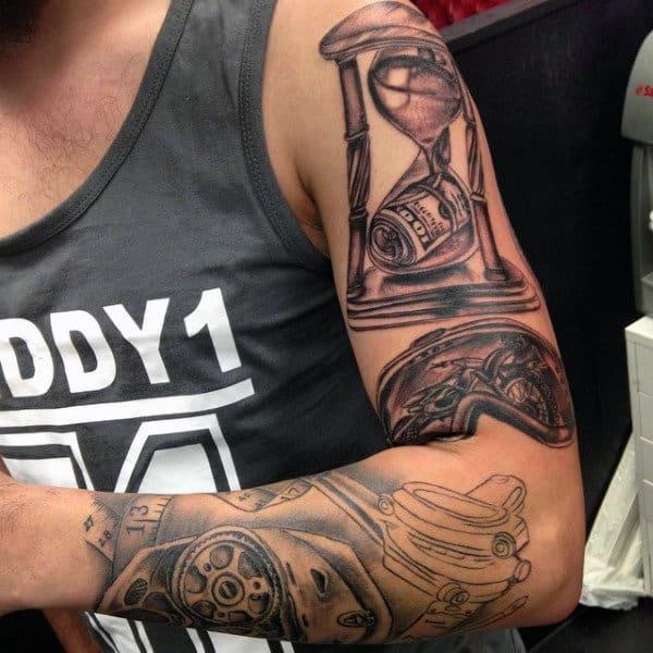 Dirt Bike Inside Goggles Mens Arm Motocross Tattoo Ideas