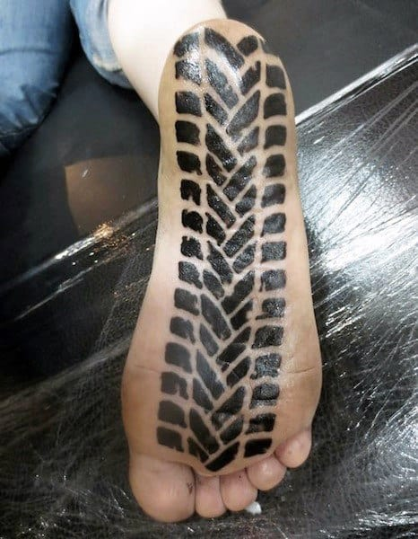 Dirt Bike Tire Tread Motocross Mens Foot Tattoo