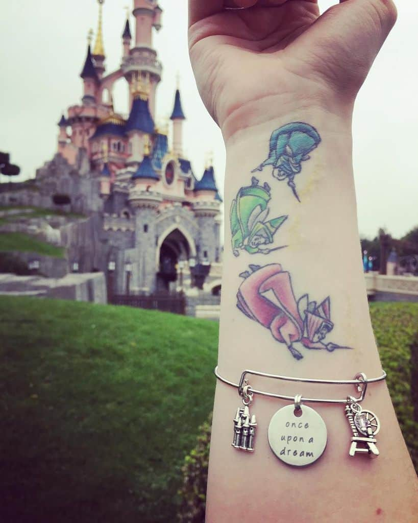 Disneyland Princess Color Fairy Tattoo