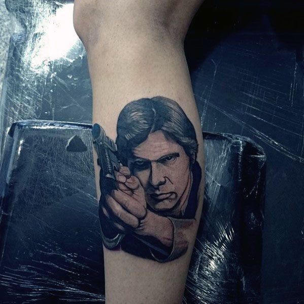 Distinctive 3d Leg Calf Male Han Solo Star Wars Tattoo Designs