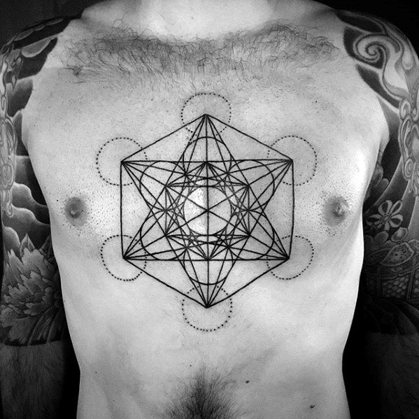 Distinctive Black Ink Lines Male Geometric Chest Tattoo Designs