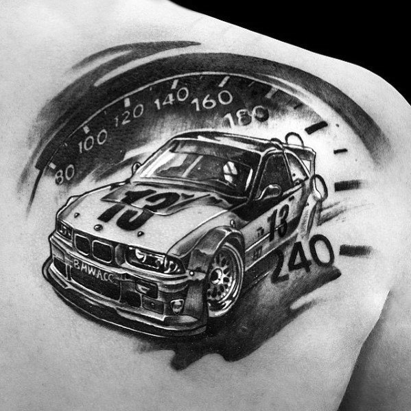 Distinctive Bmw Speedometer Tattoos For Men