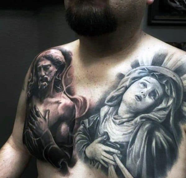 Distinctive Male 3d Jesus With Mother Mary Upper Chest Statue Tattoo Designs