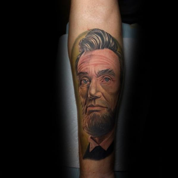 Distinctive Male Abraham Lincoln Tattoo Designs Inner Forearm