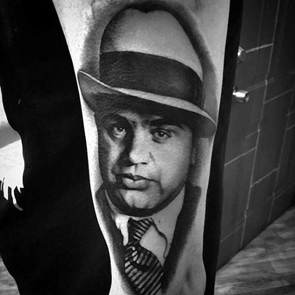 Distinctive Male Al Capone Tattoo Designs On Forearm