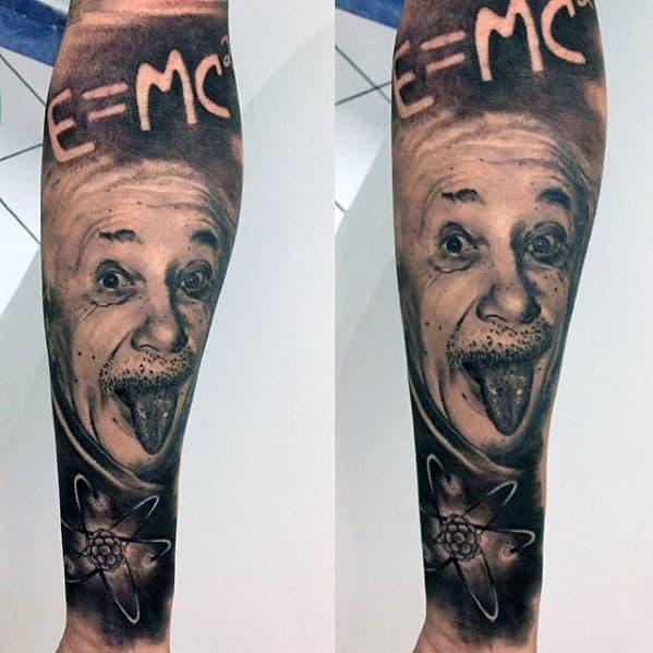 Distinctive Male Albert Einstein Tattoo Designs Forearm Sleeve